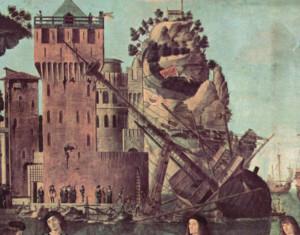 Calafataggio di una nave dipinto da Vittore Carpaccio